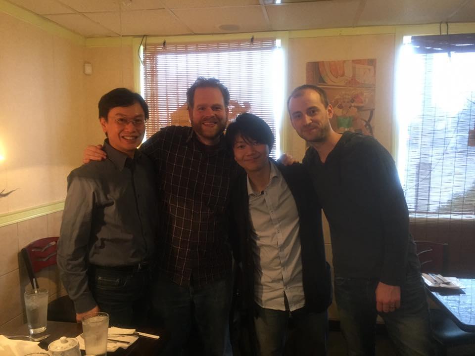 (L-R) Chien-Kwan Lin (Prof. of Saxophone, Eastman School of Music), Jonathan Russell, Kuninobu Bando, Jonathan Wintringham