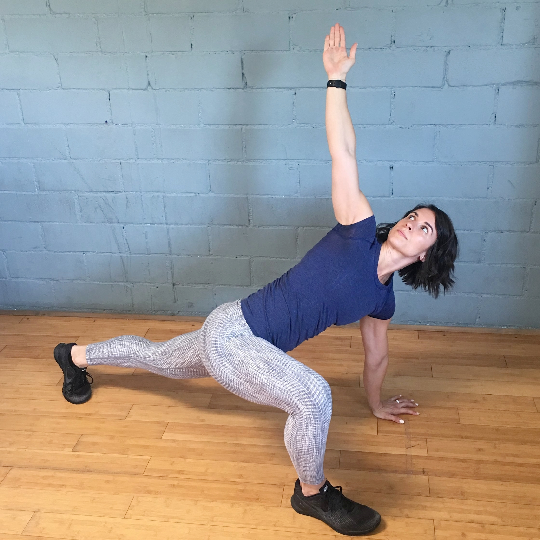 *Start in a deep lunge with your right foot forward & your left leg back with your knee straight. Bring your right elbow to touch your right foot (or as close as you can get!) & then twist your torso open with your right arm extended toward the sky. Complete 10 times & then switch legs & repeat.