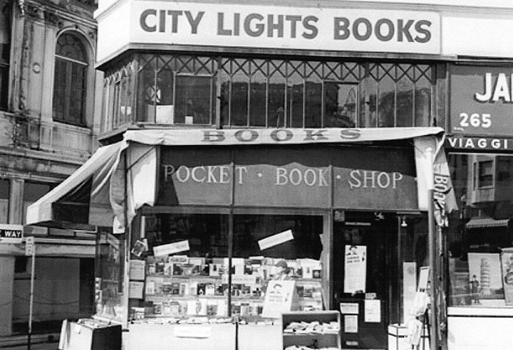 Photo: City Lights Bookstore in the 1950's; sourced from foundsf.org
