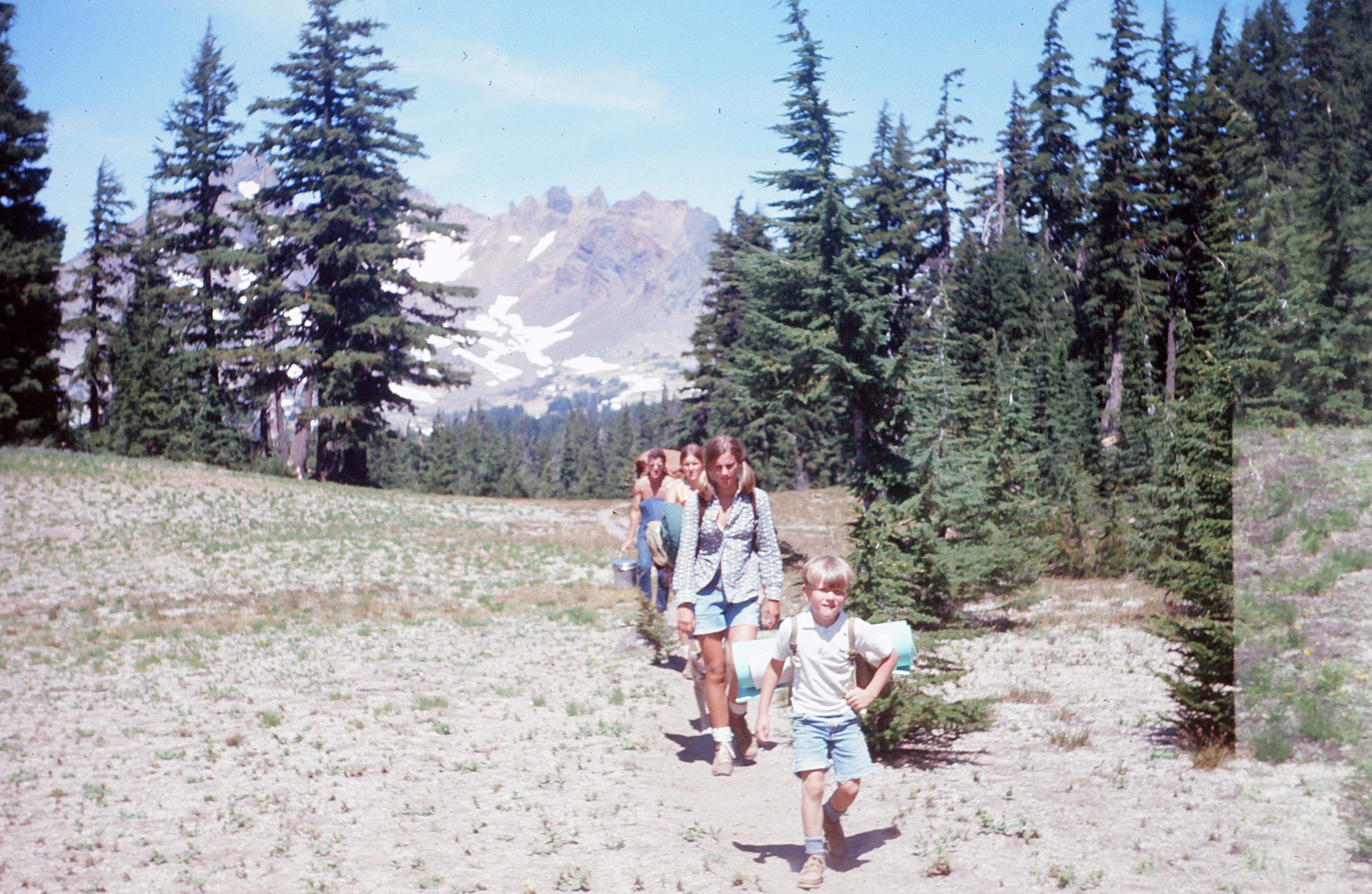 Family hiking at Broken Top