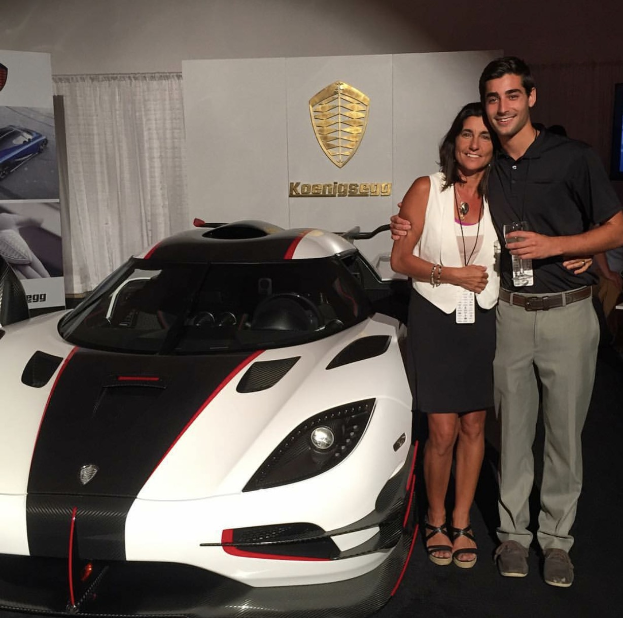 Jordan and his mom at the Mccall Motorworks Revival event in Monterey CA.