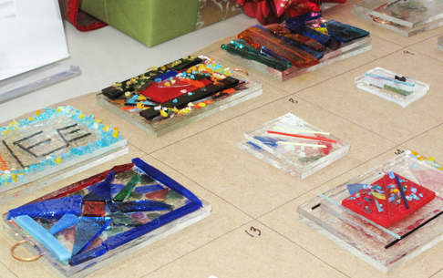 Fused Glass Ornaments ready for the kiln.