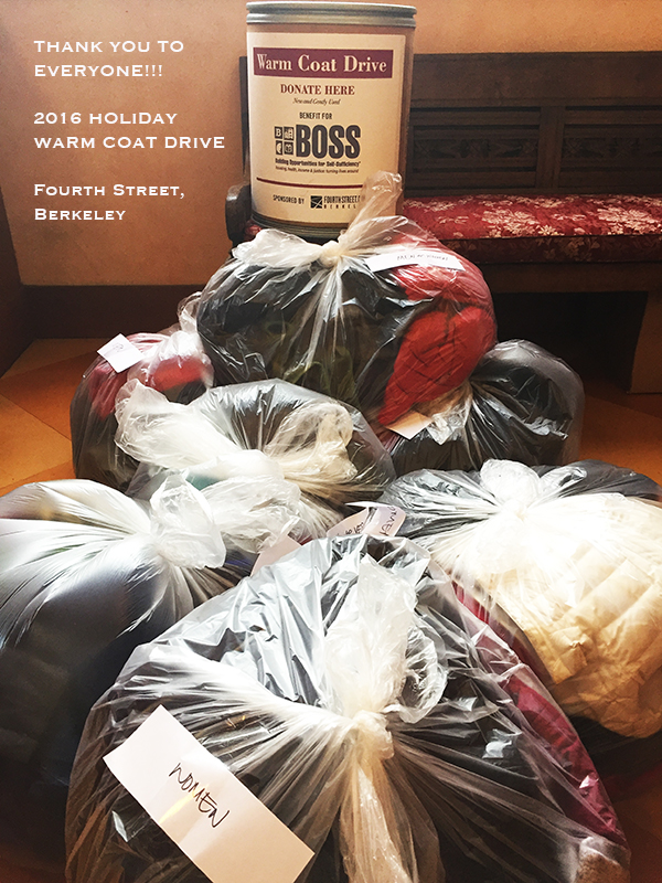 Donate coats and rain gear to BOSS this year! Drop off locations to be announced.