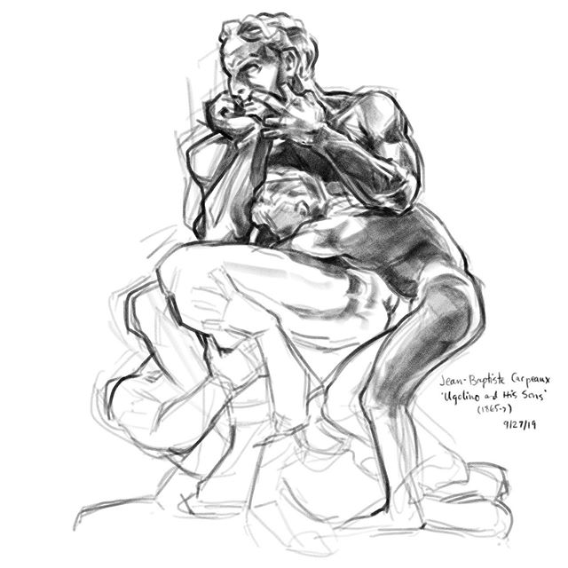 Hit the Met with @henchgirl_comic and drew a coupla guys! Ugolino (distraught man) is my favorite sculpture to study there; I've drawn him at least eight times in the last decade, though this is the first digital.