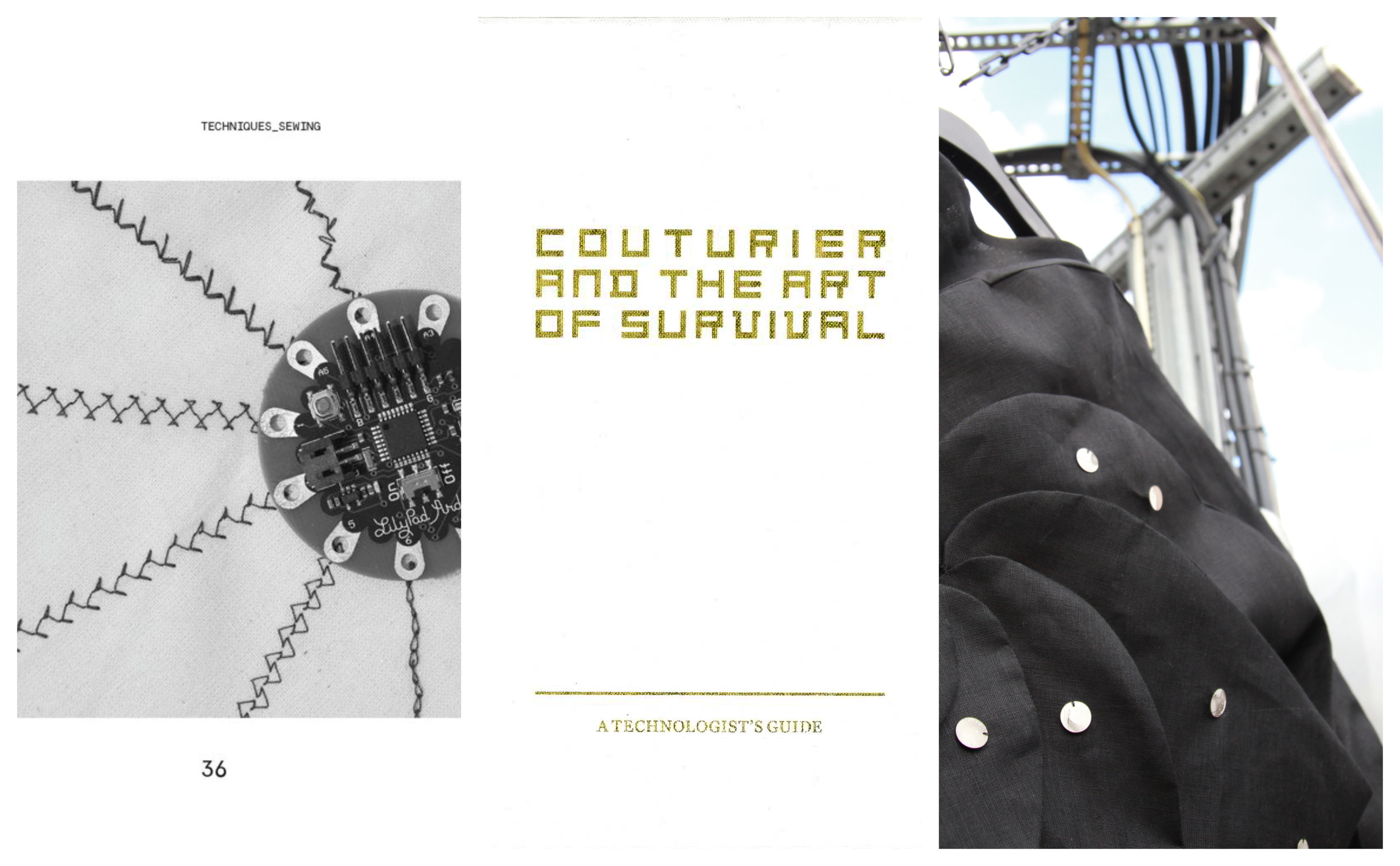 Couturier and the Art of Survival: A Technologist's Guide, 2016 - Couturier and the Art of Survival is speculative design project; an artefact, a guidebook which looks into the hypothetical future of the aesthetic embellishments of couture and the couturier in their struggle to remain relevant in an ever-changing and digital future. Couturier and the Art of Survival seeks to explain how technology can aid in this endeavour and affect the human perception of adornment as a wearable. It is an exploration in updating crafts and disciplines to add dimensionality for wearables of the future. This project was featured in the 2016 Postgraduate Show at Ravensbourne Univeristy London and also on HuffPost.https://ravensbournepost.com/portfolio_page/technologists_guide/