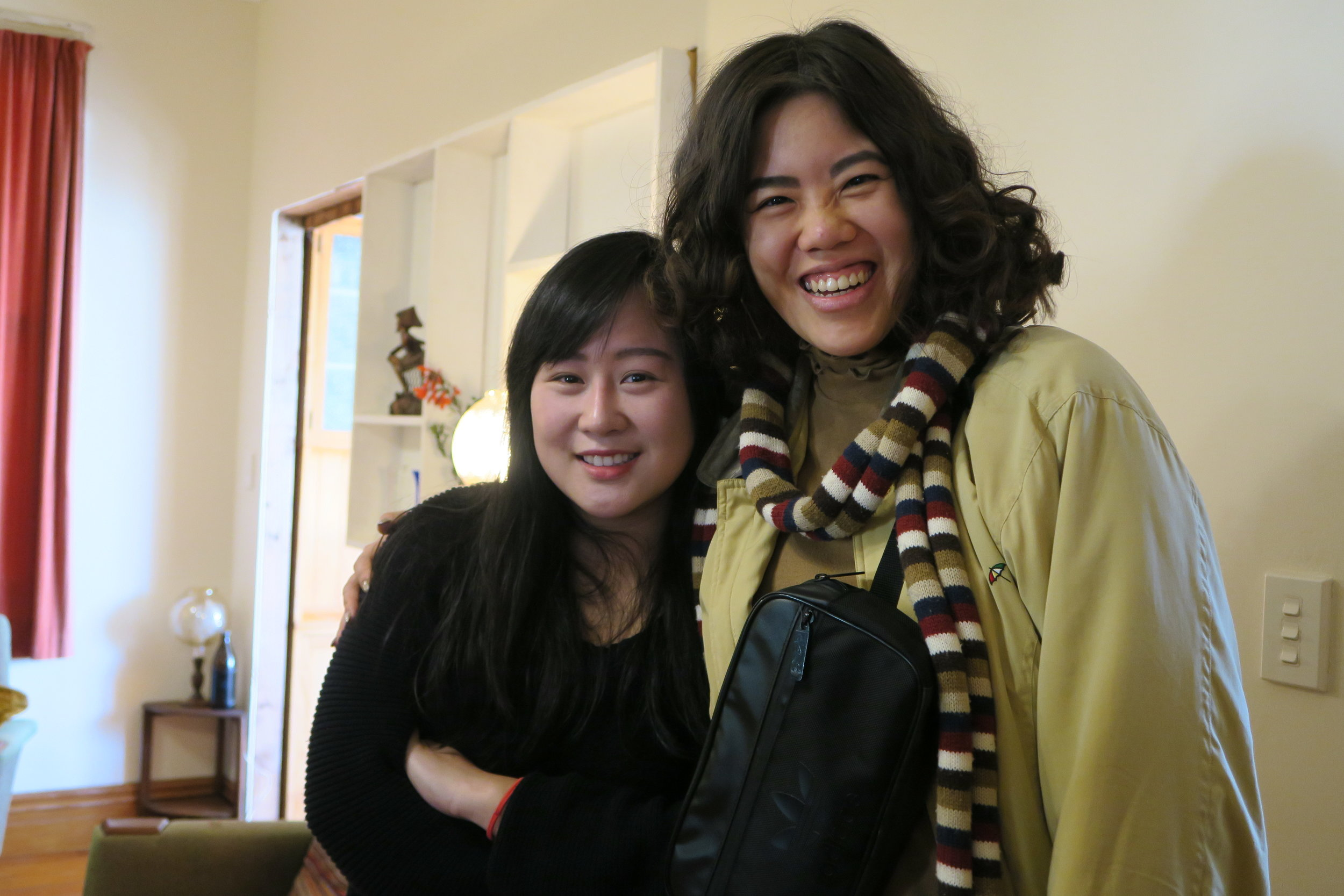 "Helen Wu and Jen Huang on the set of ""The Han Chronicles"""