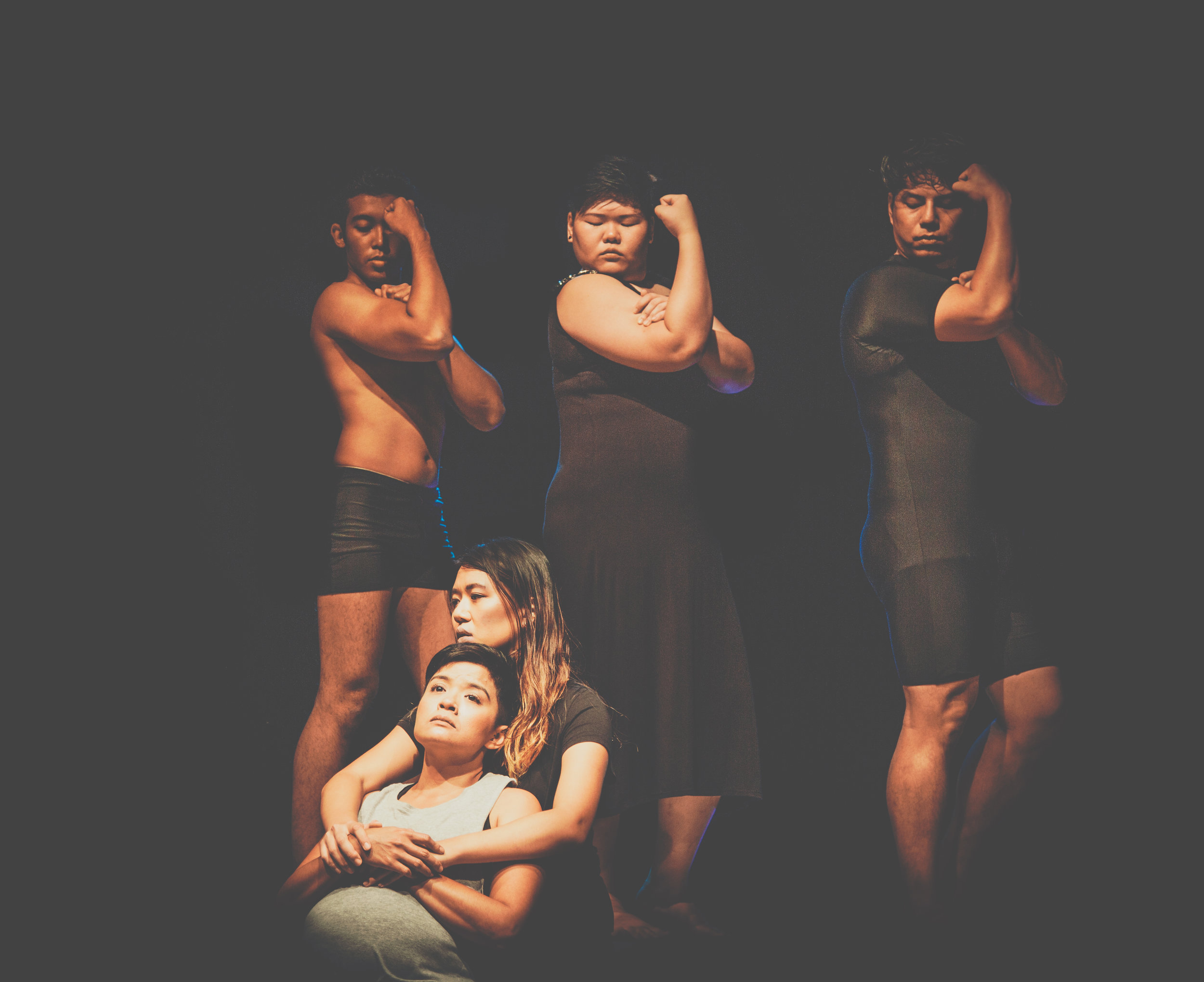 (Top row, from far left) Fadhil Daud, Deonn Yang and Henrik Cheng, (bottom, from far left), Farah Ong and Shannen Tan at the premier of Pretty Butch, M1 Singapore Fringe Festival at the Black Box, Centre 42 in 2017  PHOTO: THROBBINGPIXELS