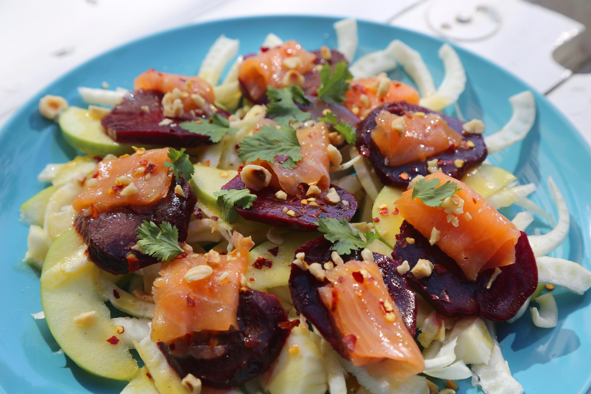 Smoked Salmon Salad: Thinly sliced fennel, beetroot, green apple, smoked salmon, chopped hazelnut and honey vinegar spicy dressing