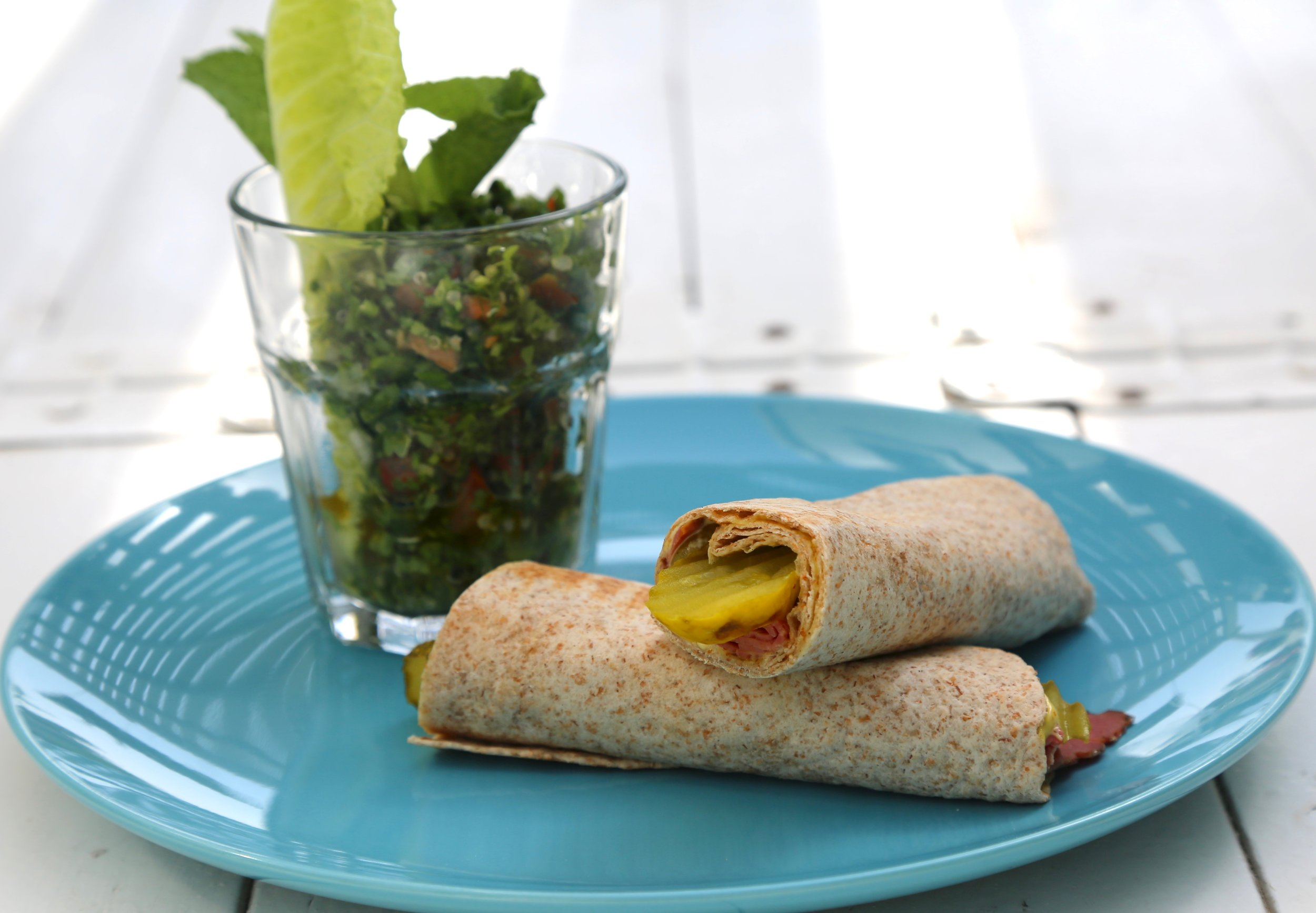 Roast Beef Wrap: Roast beef, pickles and mustard  served with tabbouleh salad