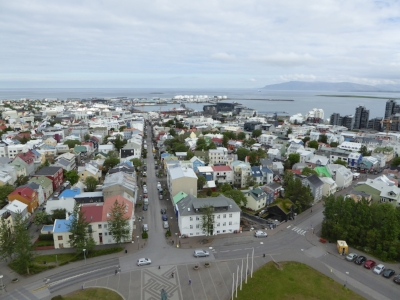 View from the top of Hallgrimskirkja, an iconic church in the city centre