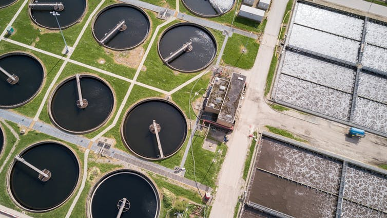 Wastewater treatment plant in the UK.