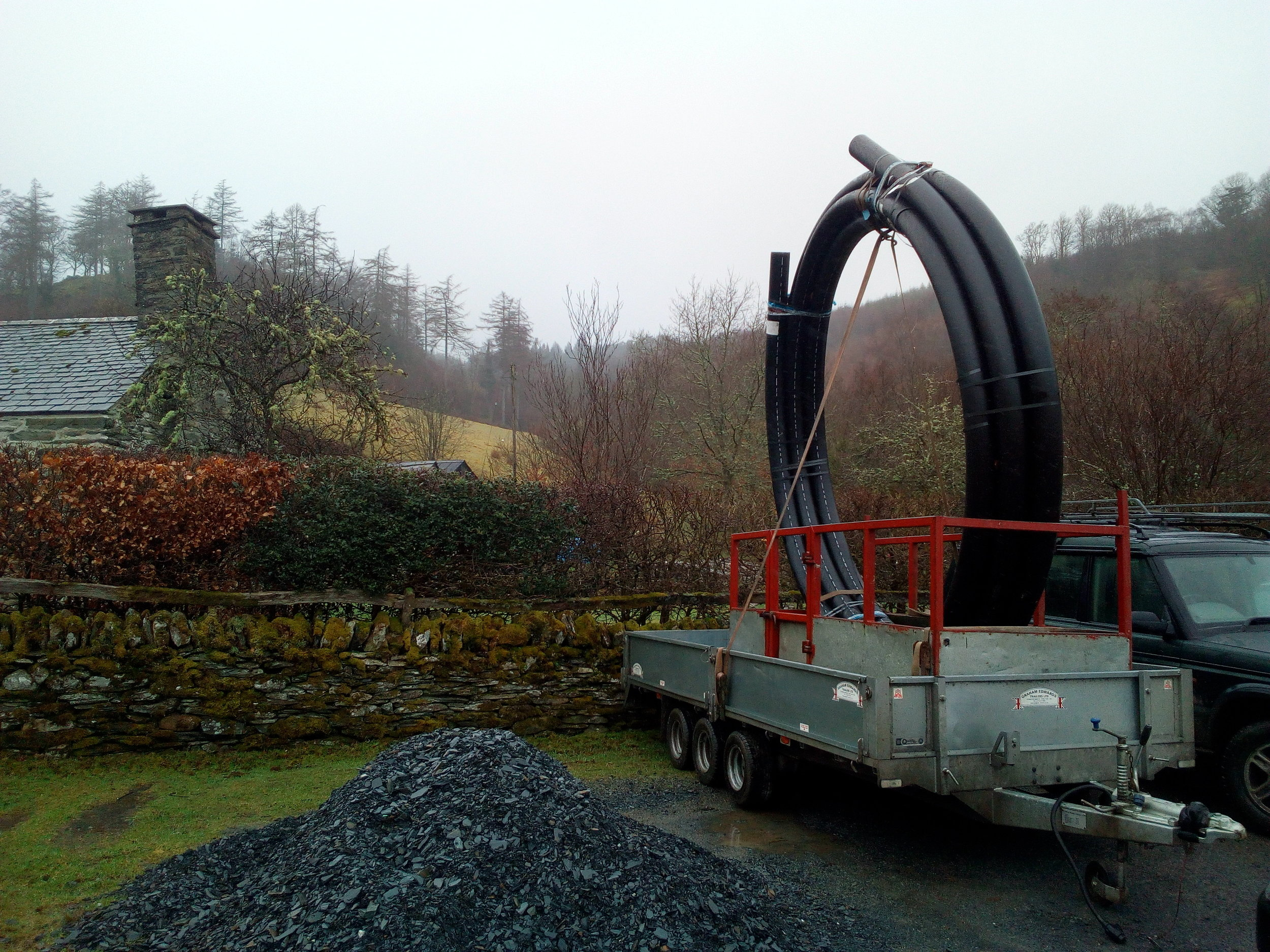 "Delivery of the last section of 6"" pipeline."