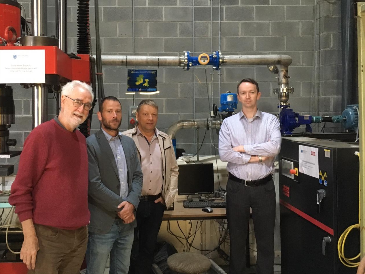 (From left) Prof. Paul Coughlan, Mr Erik Zilliox ( GIP Campus E.S.P.R.I.T. Industries ), Prof. Philippe Mandin ( GIP Campus E.S.P.R.I.T. Industries ) and Dr Aonghus McNabola at our laboratory.