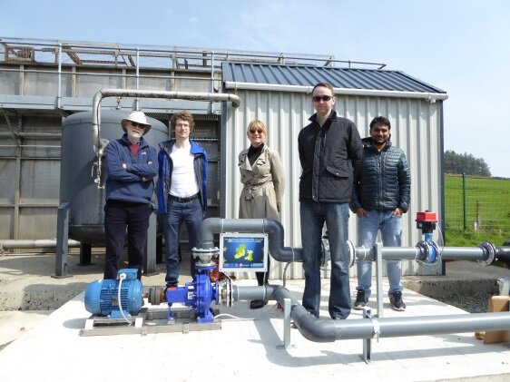 (From left) Prof. Paul Coughlan, Daniele Novara, Dr Katrin Dreyer-Gibney, Dr Aonghus McNabola and Dr Himanshu Nagpal at the demonstration site in Blackstairs GWS, Wexford, Ireland before the technology demonstration
