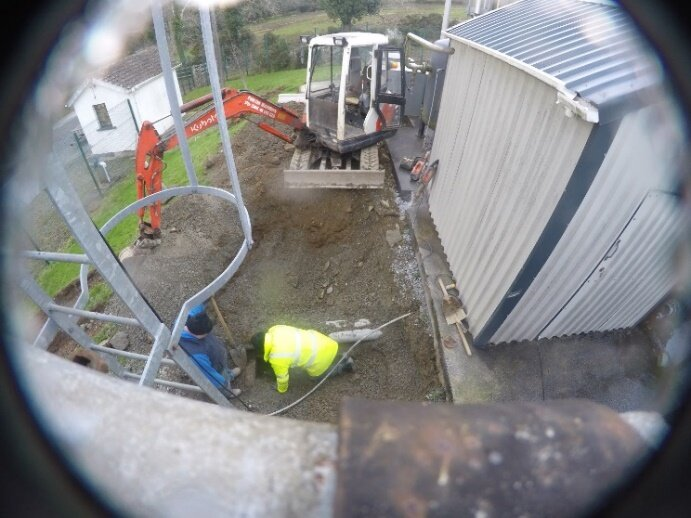 Excavations to expose the pipeline