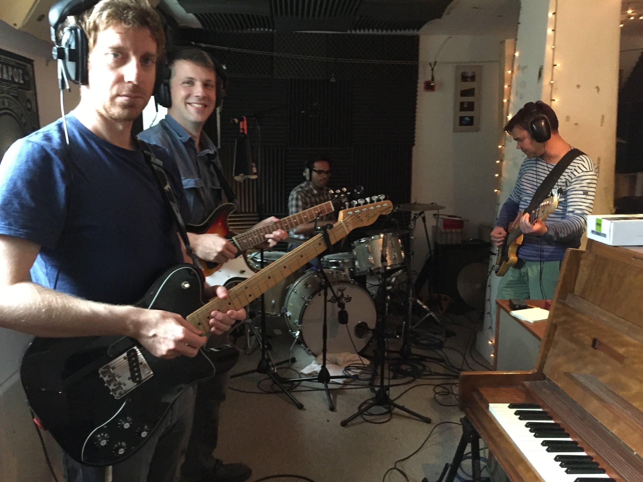 Adam, Stu, Jes and Chris in the studio...