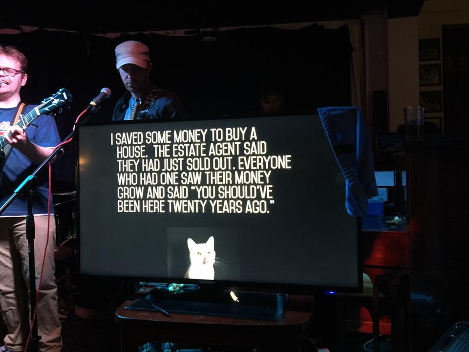 The lyric captioning in action.  (Photo by Kevin Reinhardt)
