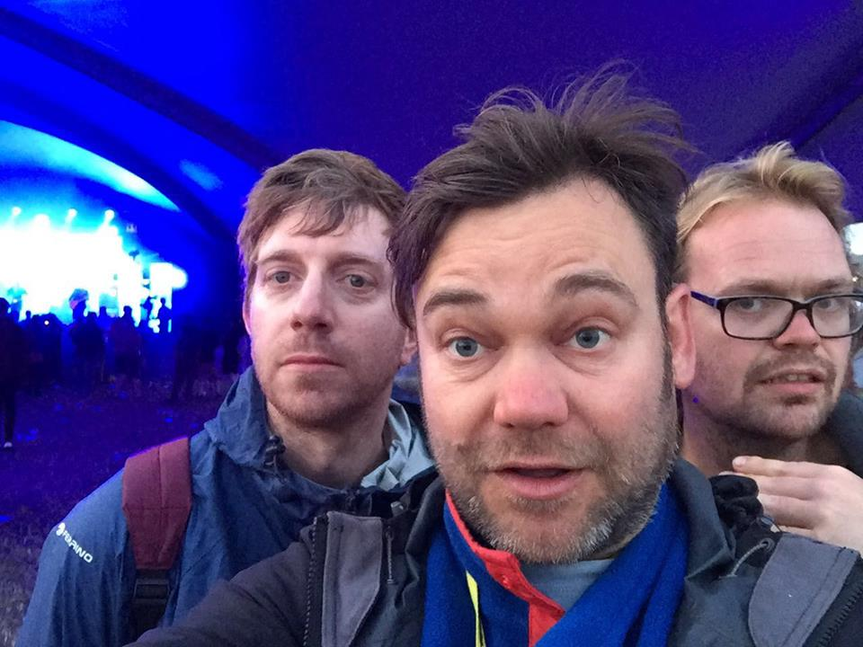 Chris, Jes and Paul at Glastonbury. Looks photoshopped but surprisingly isn't!