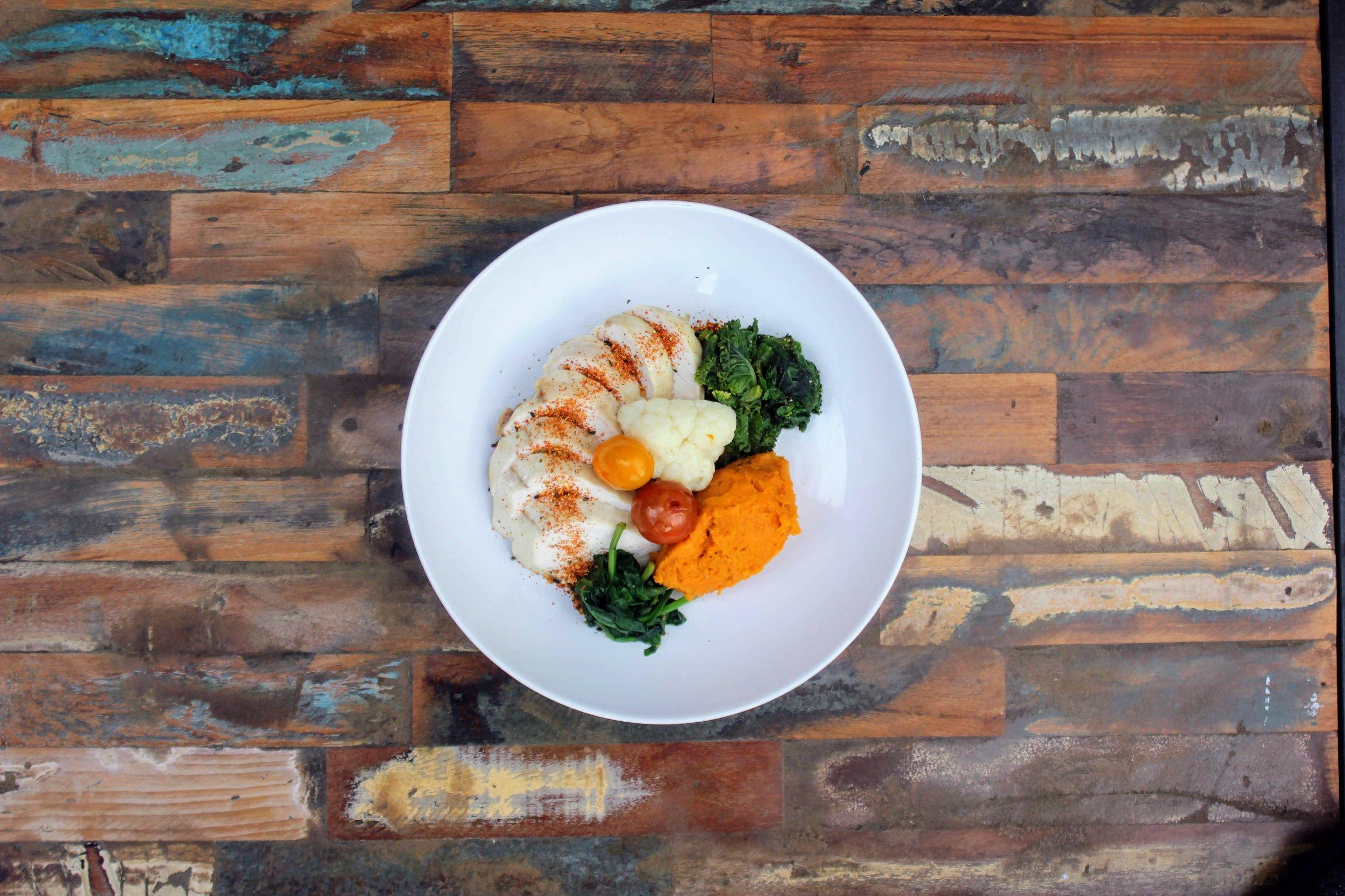 Poached chicken, sweet potato, veg