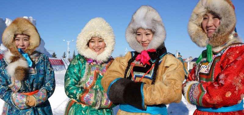 Mongolian women in the winter