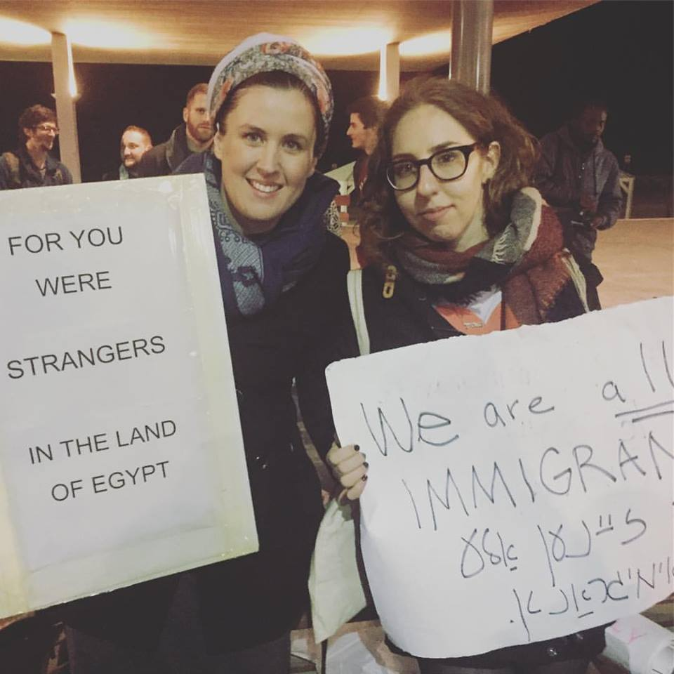 Sosye with Nathalie Hecker, our guest in episode three, at a protest in Tel Aviv last month.