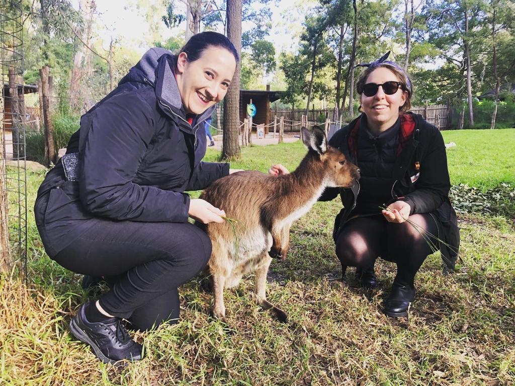 Reyzl and Soyse with khaver kangaroo!