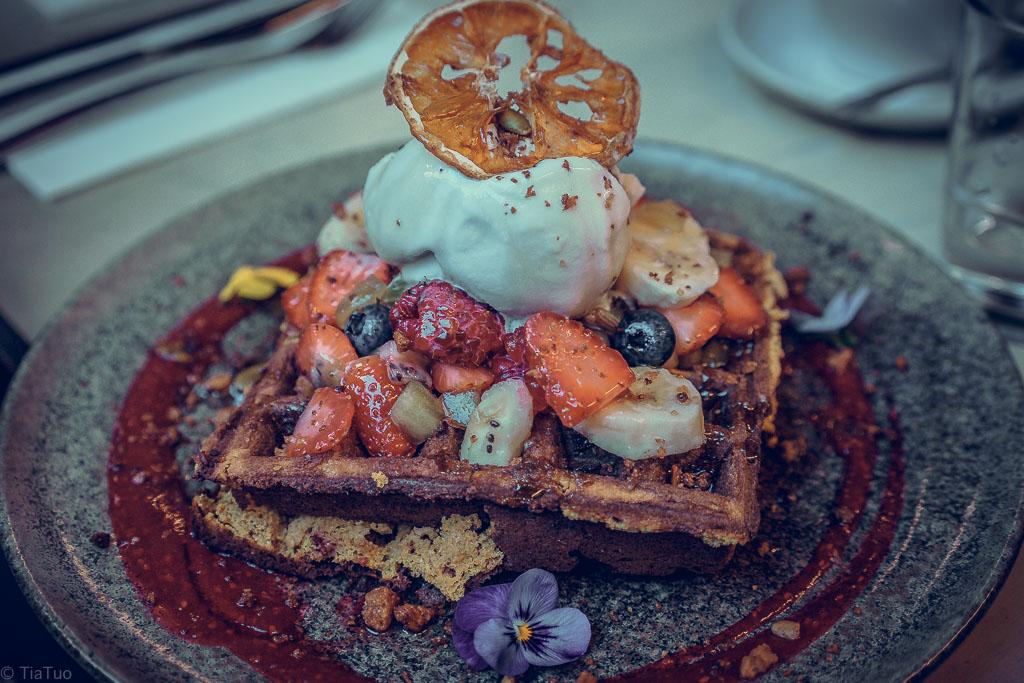 Paleo waffles at Patch cafe