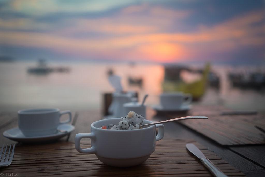 Breakfast on the beach at sunrise