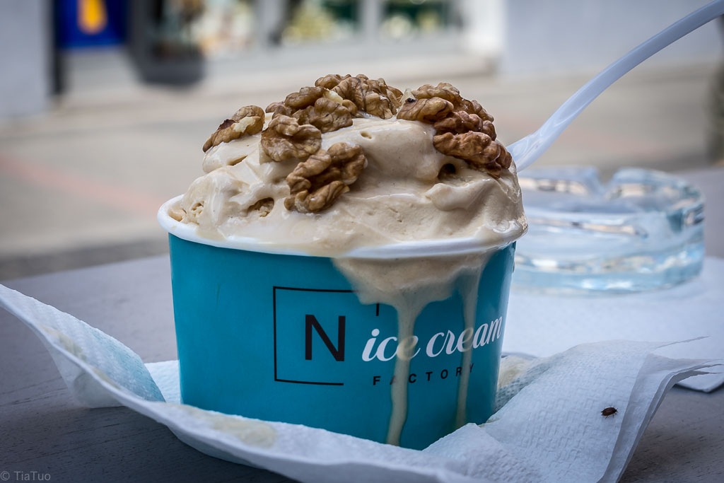 Soy ice cream, coffee caramel flavour, topped with walnuts