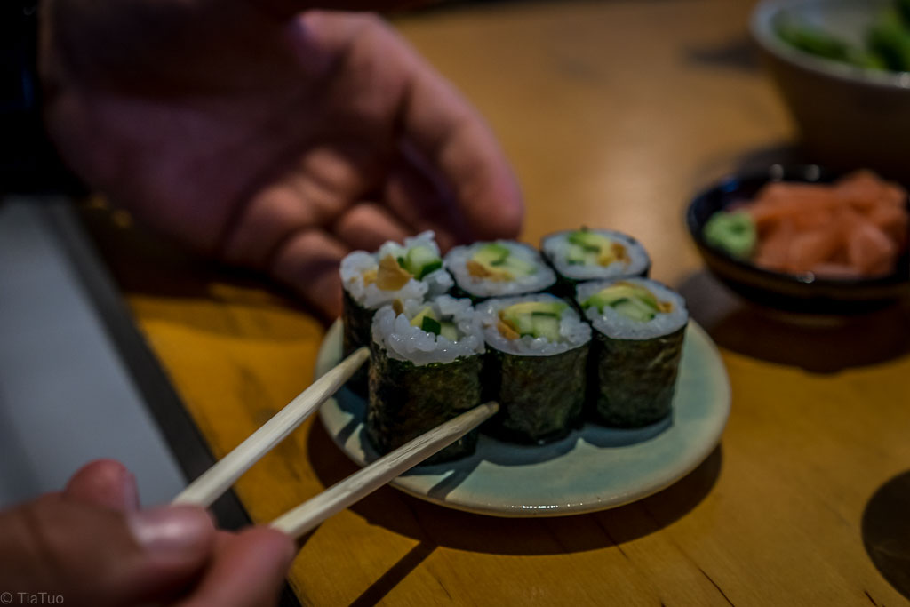 Cucumber maki in another roll