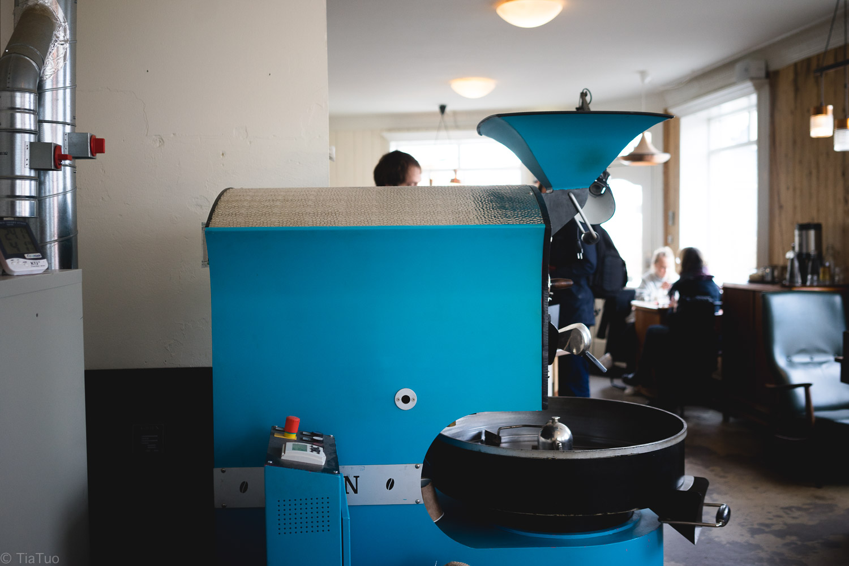 Ancient-looking coffee roasting machine