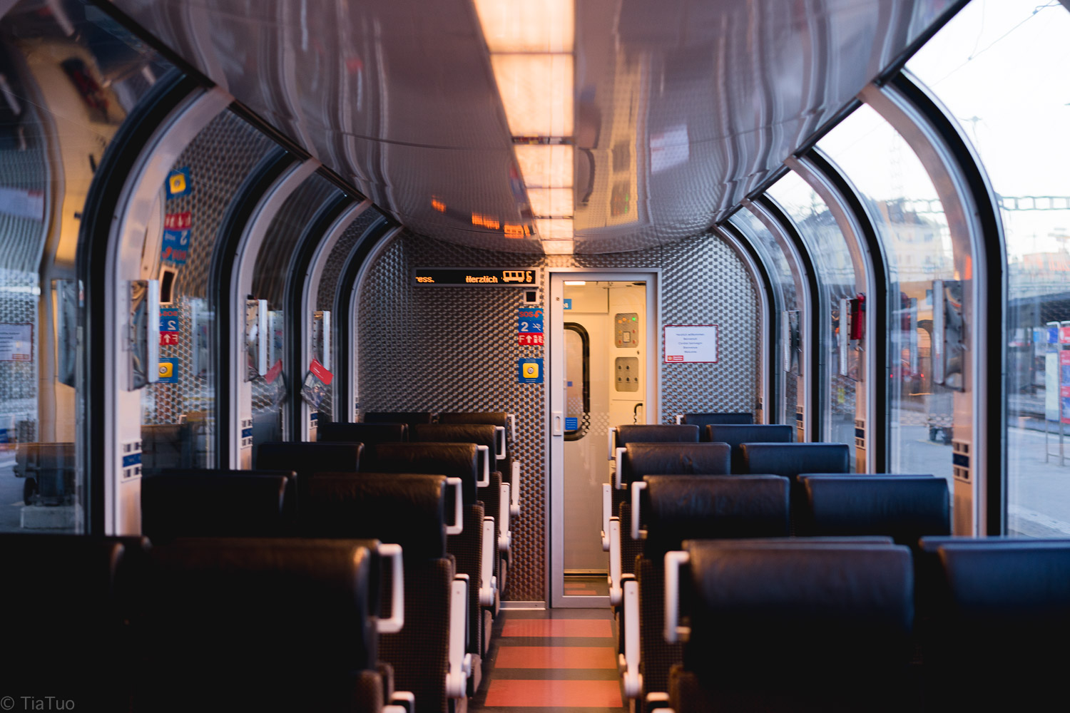 Peaceful and stylish interior of the train
