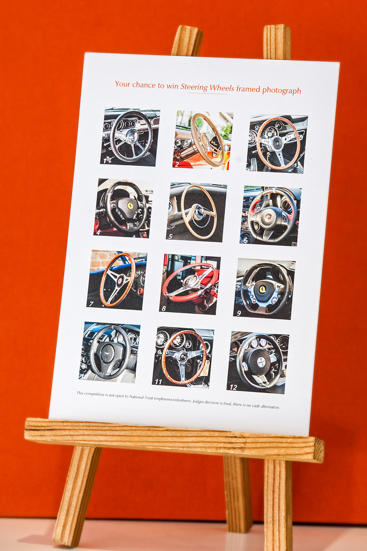 - At each event that exhibits; 'A Drive DownMemory Lane', there is an opportunity to enterthe competition to win the framed limited edition photograph titled 'Steering Wheels'.By naming which car, make, model and year eachof the twelve steering wheels belongs to.  An entry card provided at all future exhibitionswill enable you to take part too.
