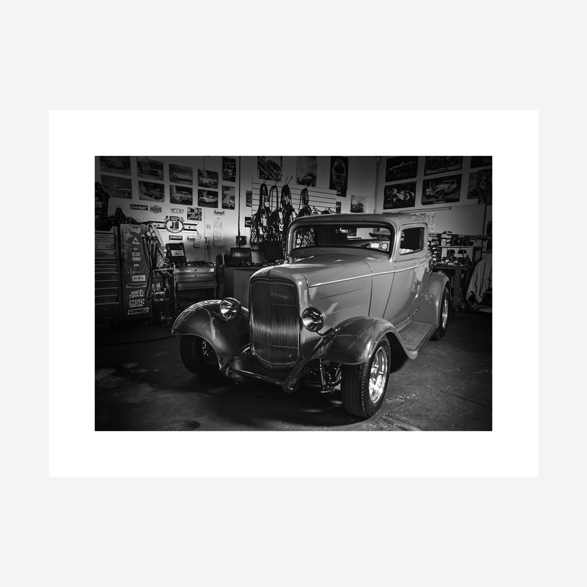 """Ford Hotrod Black & White 32"""" x 24"""""""
