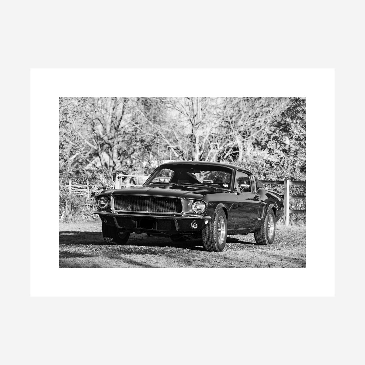 """Ford Mustang """"Bullitt"""" Black & White 32"""" x 24"""""""