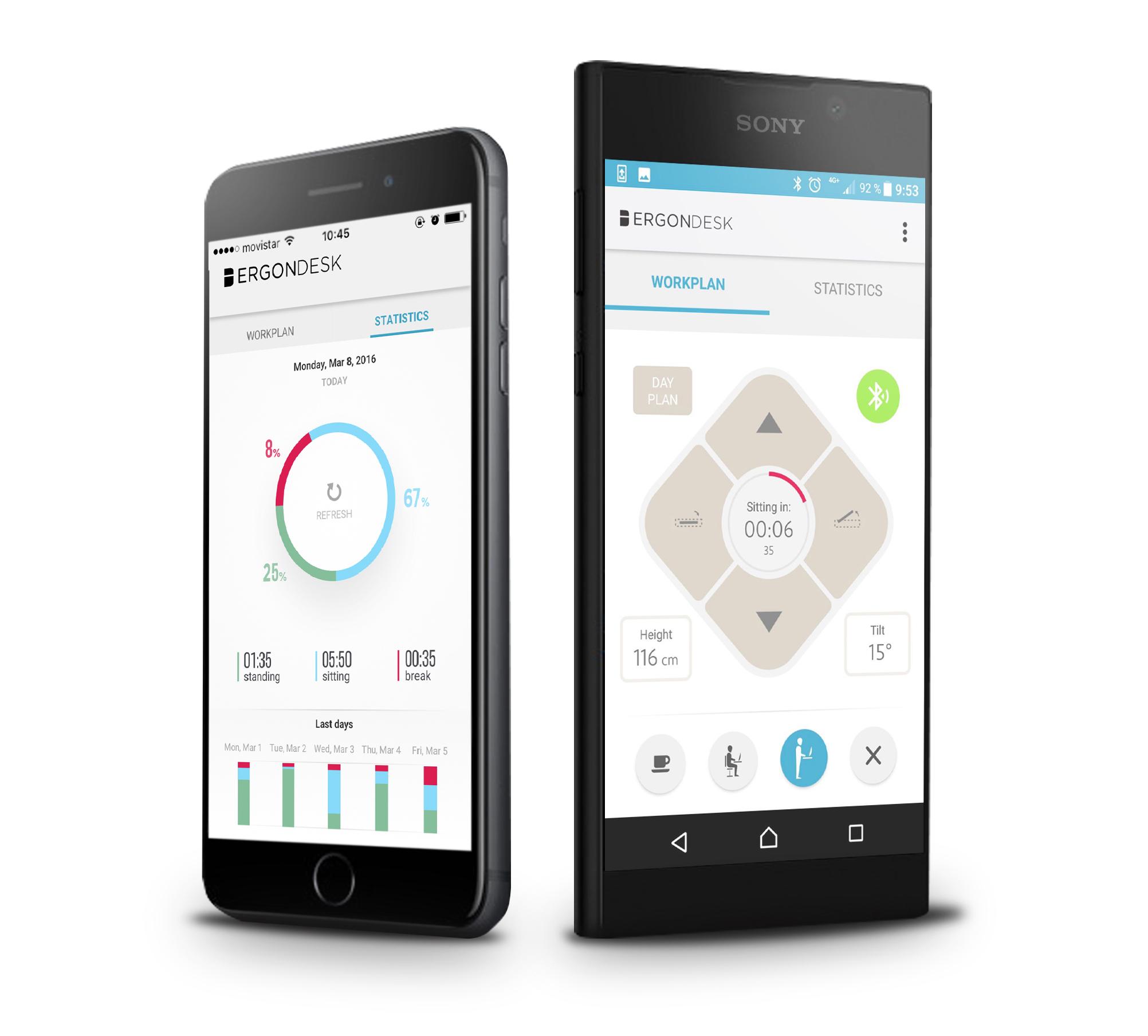 App inteligente - Ahora no serás tú el que se adapte a la mesa, será ella la que se adapte a ti gracias al control móvil a través de Bluetooth.Con su App integrada, la Ergon guarda las posiciones de trabajo sentado y de pie de cada usuario de forma personalizada.