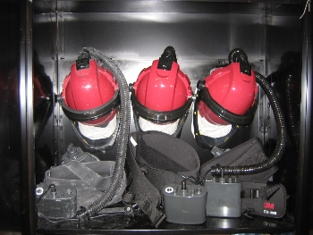 These units provide filtered pressurized air through a fully self contained unit. There are no heavy hoses to get in the way of the work area. We are committed to provide our employees the safest and best work environment in the industry.