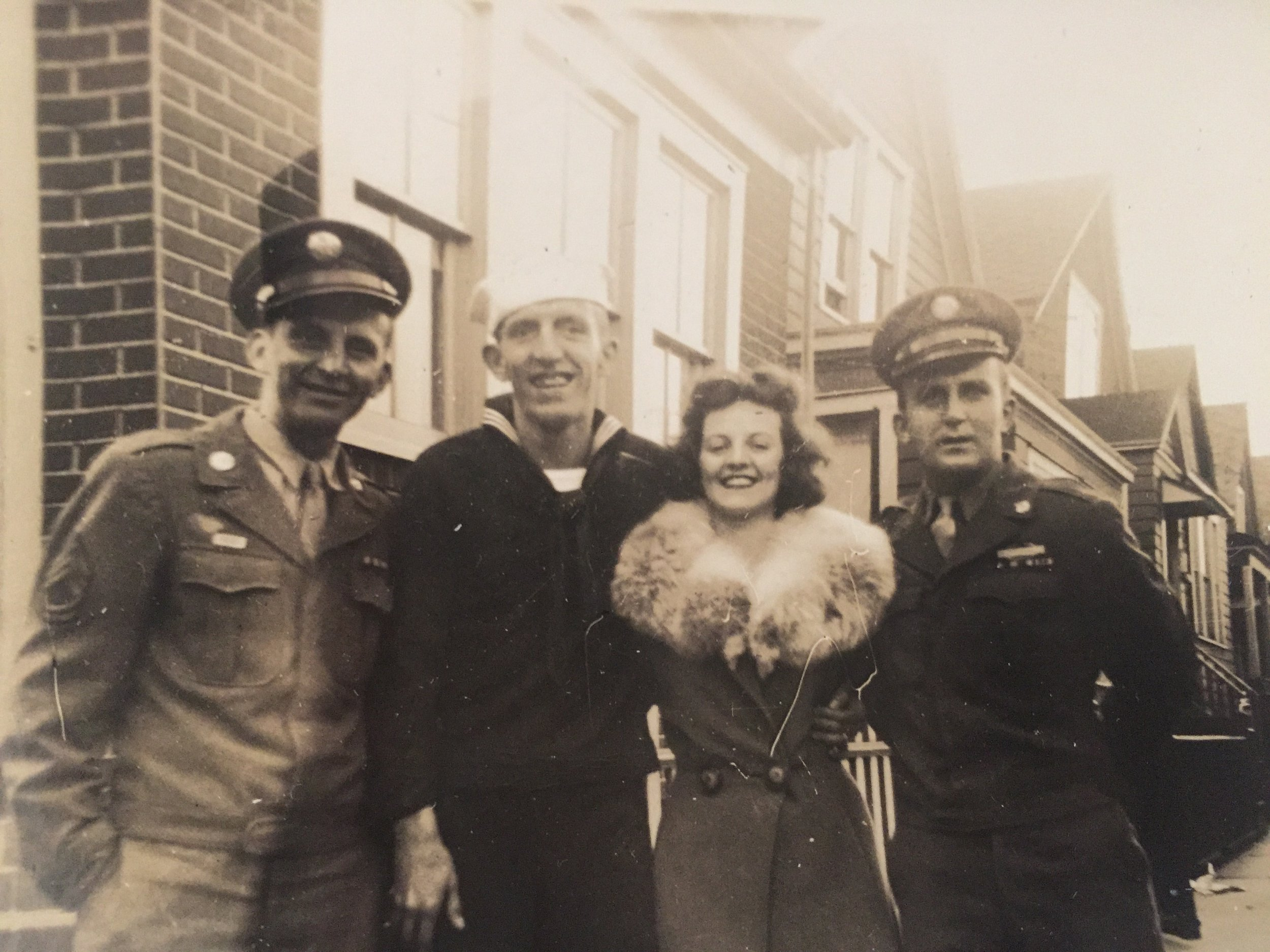 Anne with three of her brothers late 1940s.
