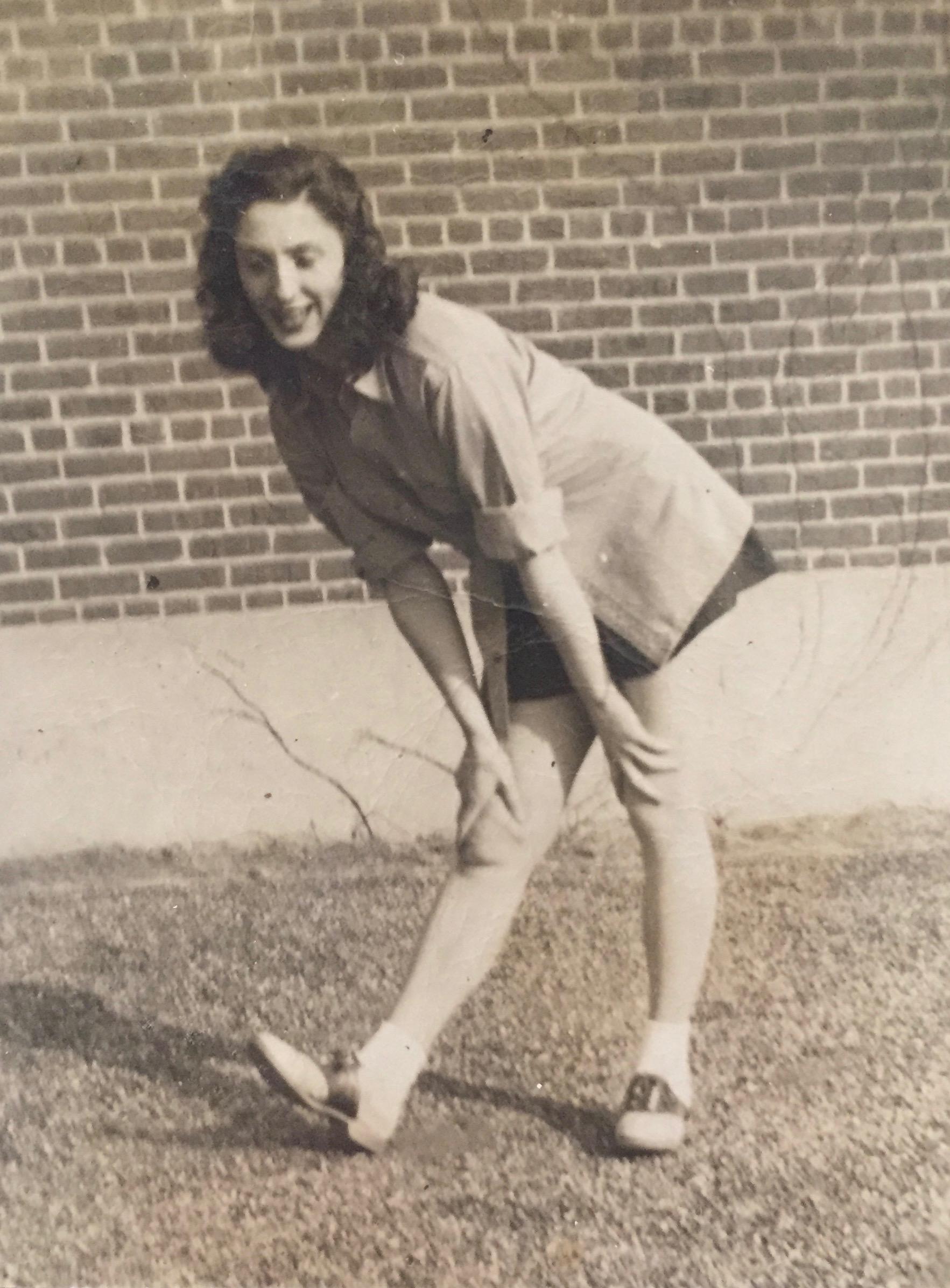 Augusta, cheer practice at Smithtown High School, 1940s.