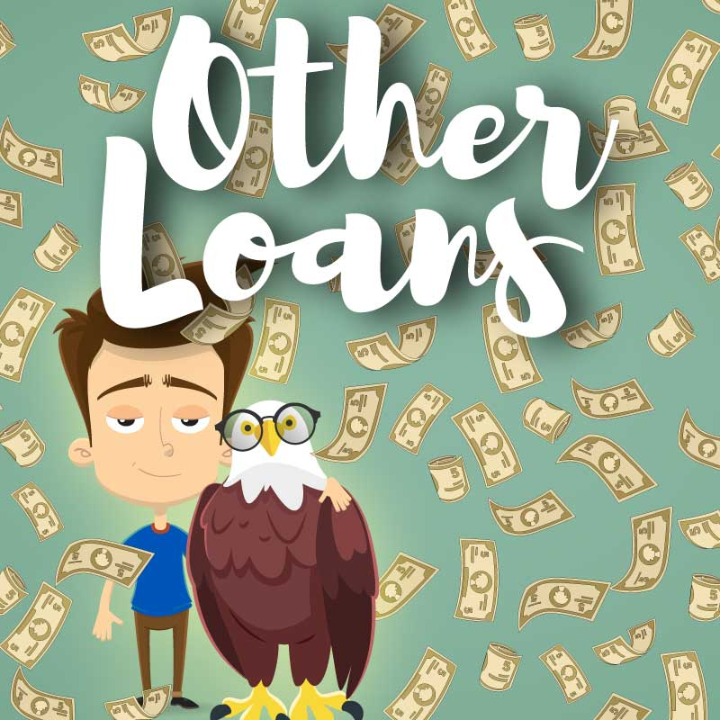 Other Loans Graphic with Man, Eagle, and Money Falling