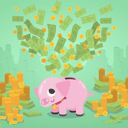 Cash flying out of piggy bank