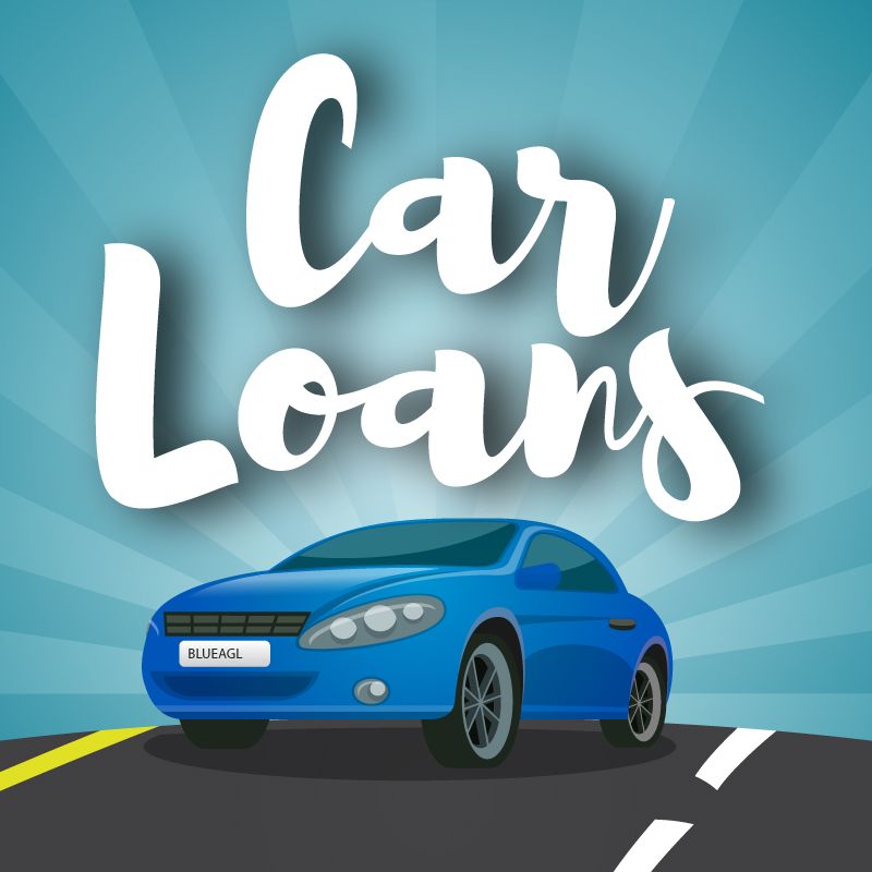 Car loans graphic with car