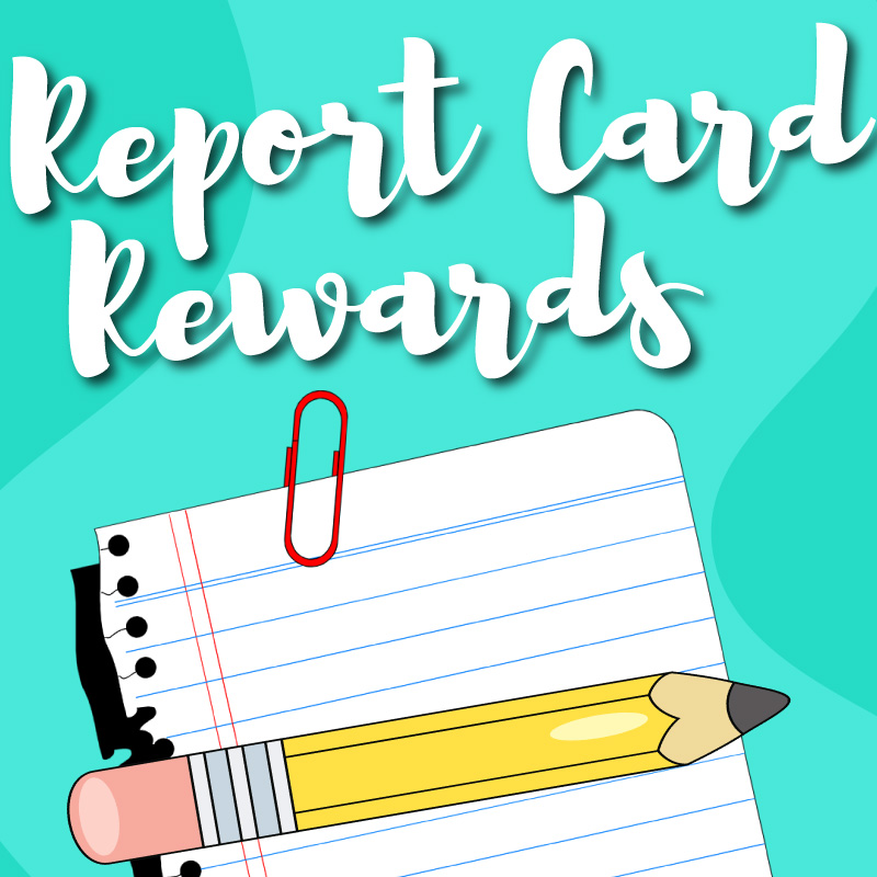 Report Card Rewards graphic with paper and pencil