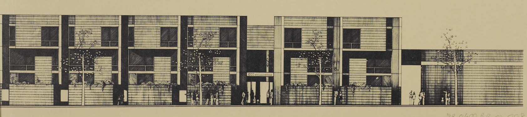 Rendering of Cadman Towers townhouses. Credit: New York Real Estate Brochures Collection - Columbia University.
