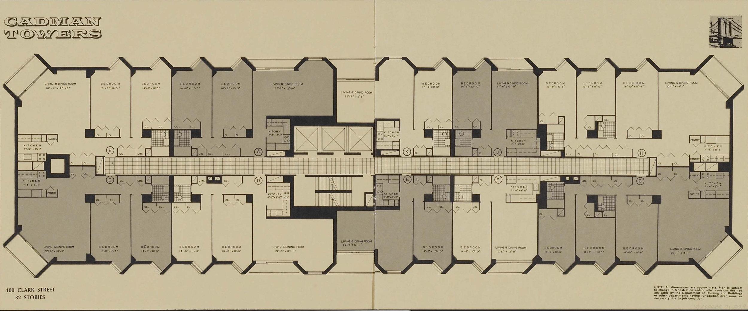 100 Clark Street floor plan. Credit: New York Real Estate Brochures Collection - Columbia University.