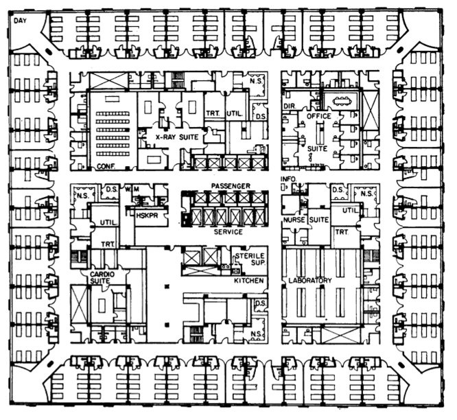 Typical floor plan, Bellevue Hospital. Pedro Guedes,  The Macmillan Encyclopedia of Architecture & Technological Change .