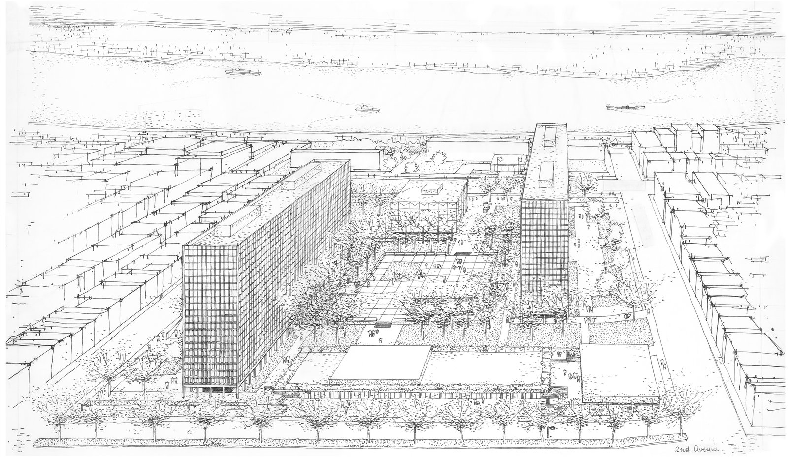 Architectural drawing of Kips Bay Plaza (Pei Cobb Freed & Partners)