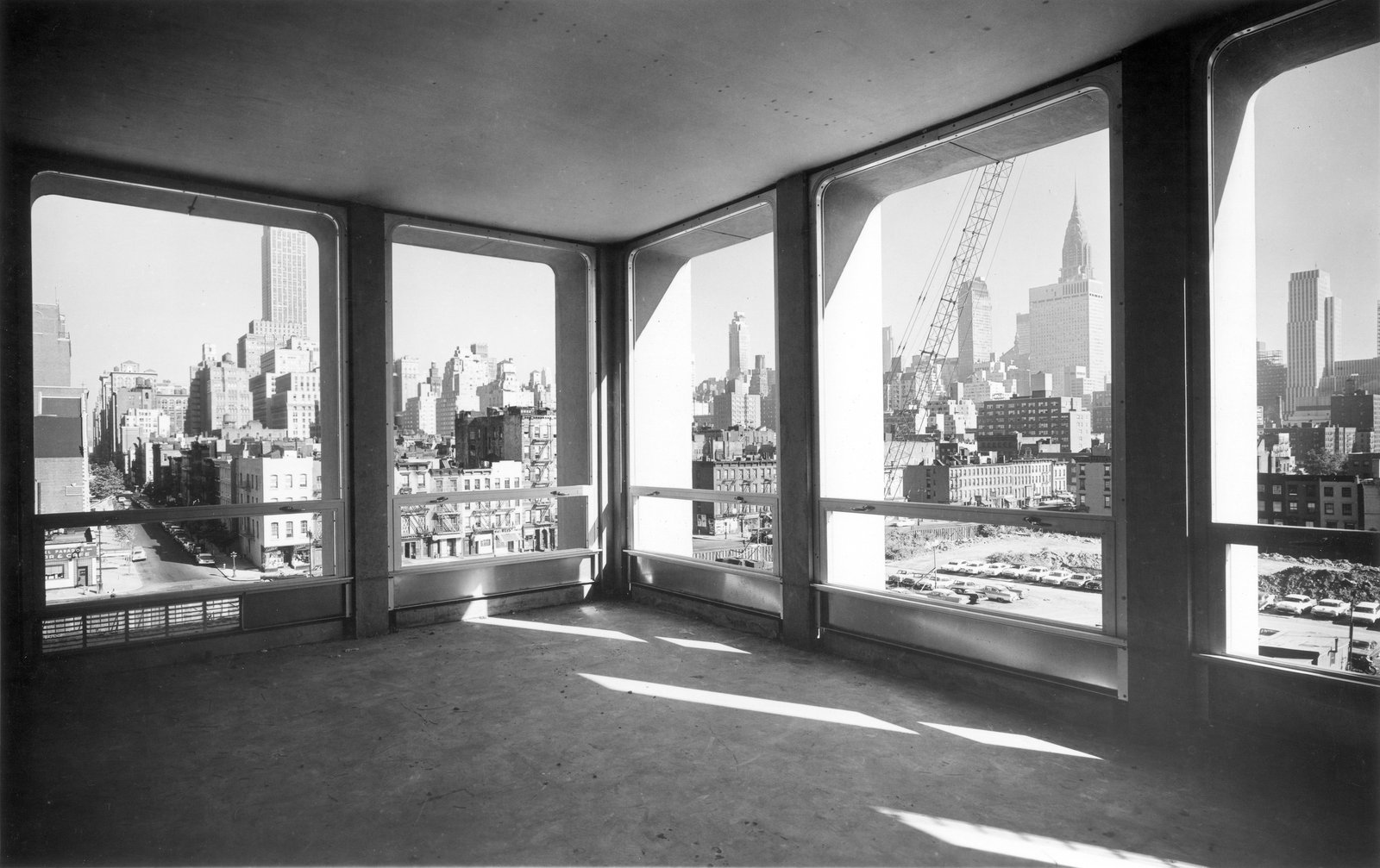 View from Kips Bay Plaza apartment during construction showing floor to ceiling windows. Courtesy Pei Cobb Freed & Partners.