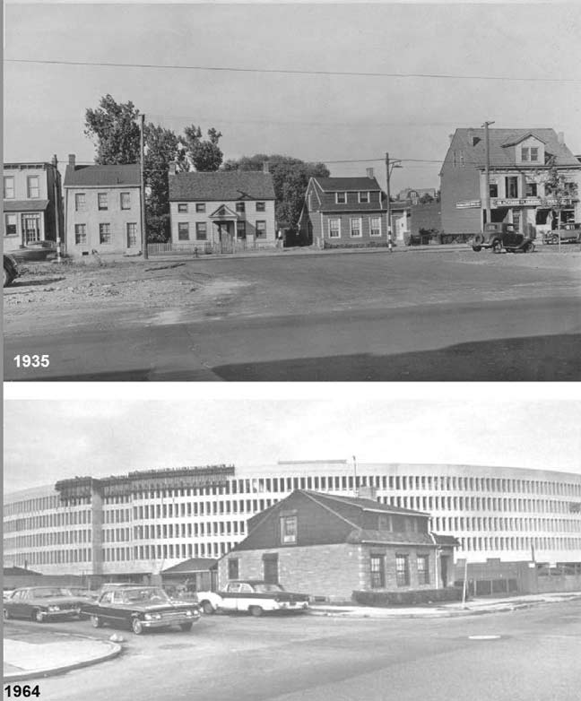 Mary Sendek's house (second to right in top photo) was the only house to remain on the site after Macy's was built. The owner refused to leave even after offers five times the value of the property. The property would eventually be sold in 1980 and redeveloped into a two-story brick shopping center. Credit: forgotten-ny.com.