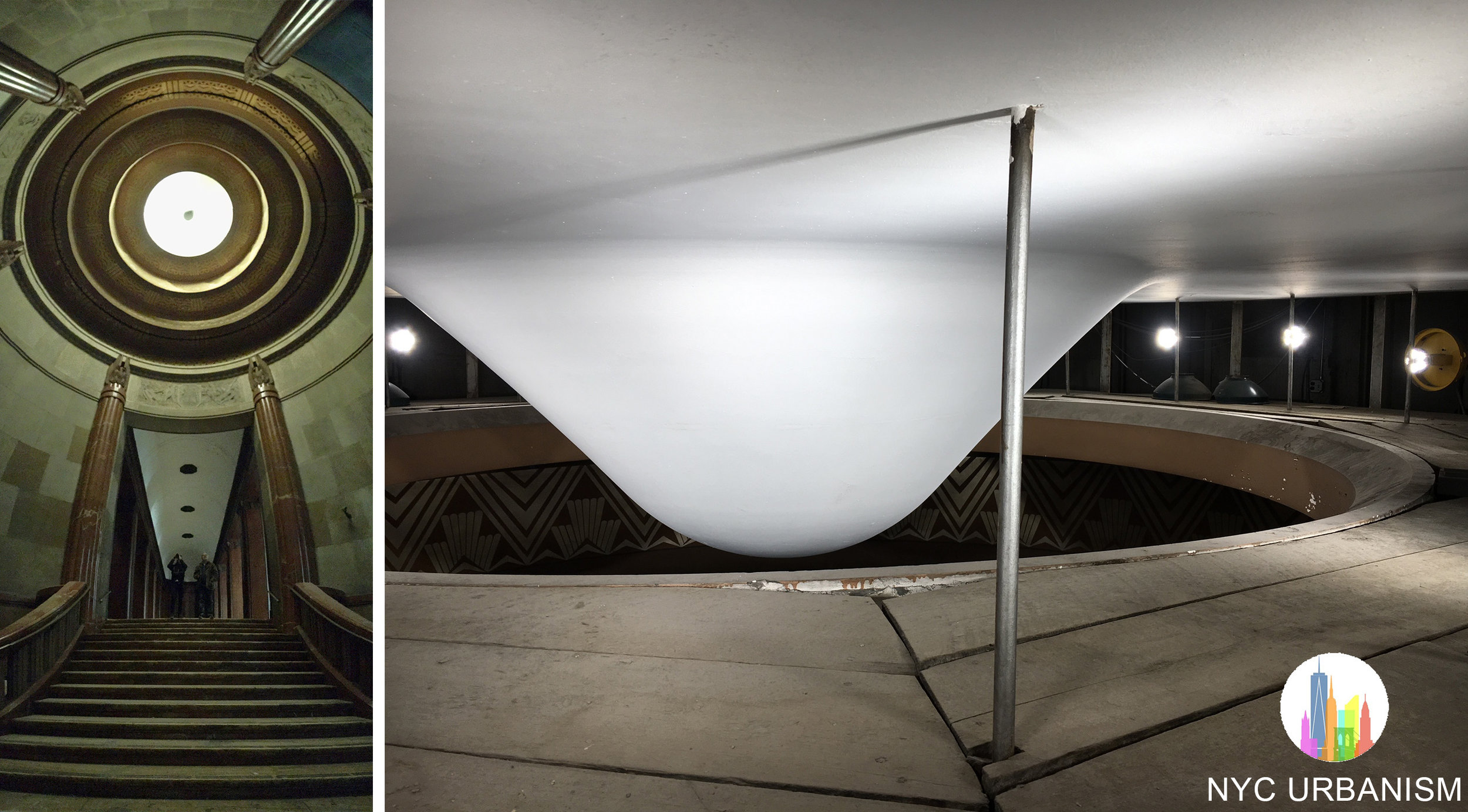 Left: rotunda with sphere above. Right: crawl space with lights illuminating the sphere to light the rotunda.  Click to enlarge.